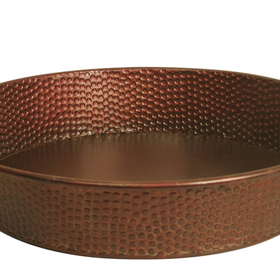 "18"" Round Copper Tinted Hammered Metal Tray-Wald Imports"