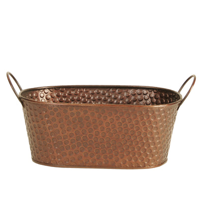 "9"" Oval Copper Tint Hammered Metal Planter-Wald Imports"