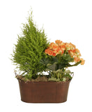"13.5"" Oval Copper Tint Hammered Metal Planter-Wald Imports"
