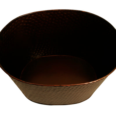"10.5"" Oval Hammered Metal Container-Wald Imports"