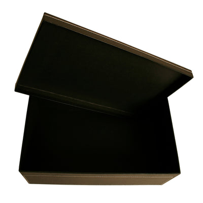 "14"" Black Embossed Paperboard Box W/Lid-Wald Imports"