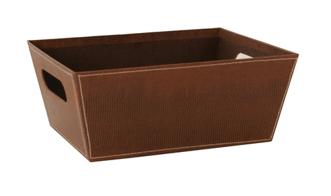 "10"" Brown Faux Leather Tray"