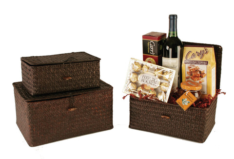 Set of 3 Espresso Seagrass Basket Trunks-Wald Imports