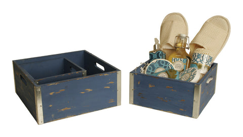 Set of 3 Square Distressed Blue Crate Planters-Wald Imports