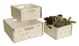 Set of 3 Square Distressed White Crates