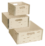 Set of 3 Square Distressed White Crates-Wald Imports