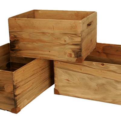 Set of 3 Pine Box w/ Metal Accents-Wald Imports