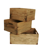 Set of 3 Large Weathered Pine Boxes