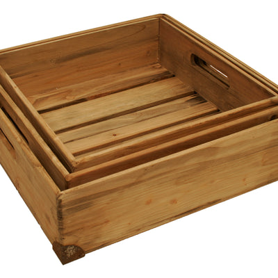 Set of 3 Large Weathered Wood Trays-Wald Imports
