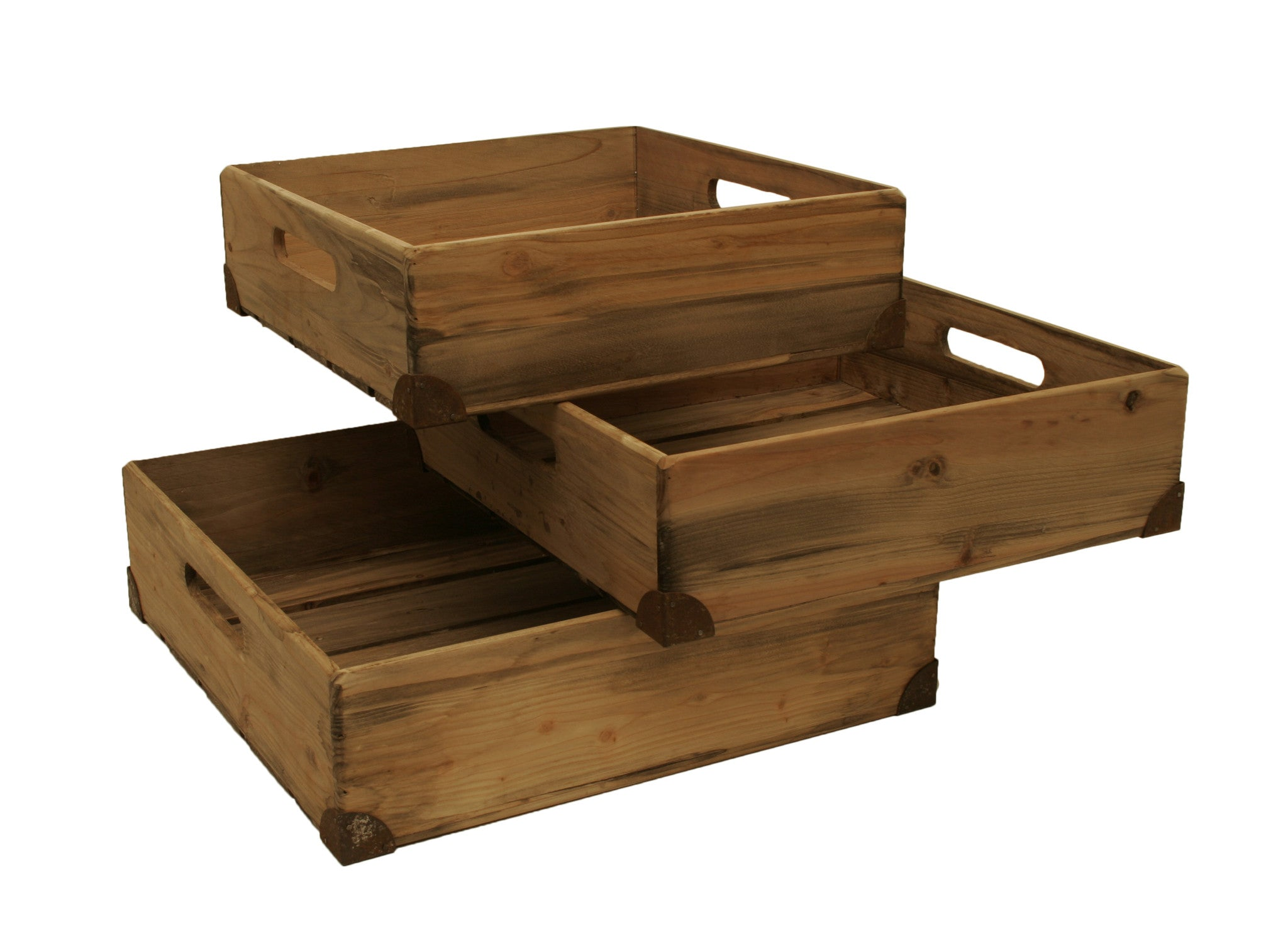 Set of 3 Pine Box Med. w/ Metal Trim-Wald Imports
