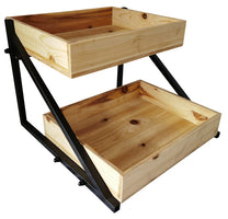 HOME DÉCOR Two Tier Storage Shelf w/Wood Trays-Wald Imports