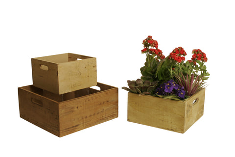 Set of 3 Square Distressed Rustic Wood Crate Planters-Wald Imports