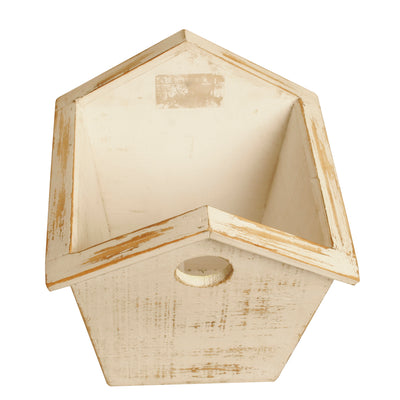 "6"" Whitewash Wood Birdhouse Planter-Wald Imports"