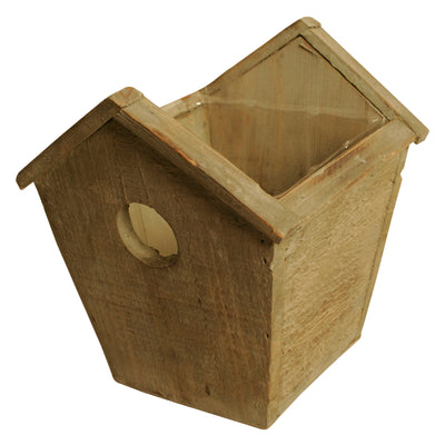 "4.75"" Rustic Wood Birdhouse Planter-Wald Imports"