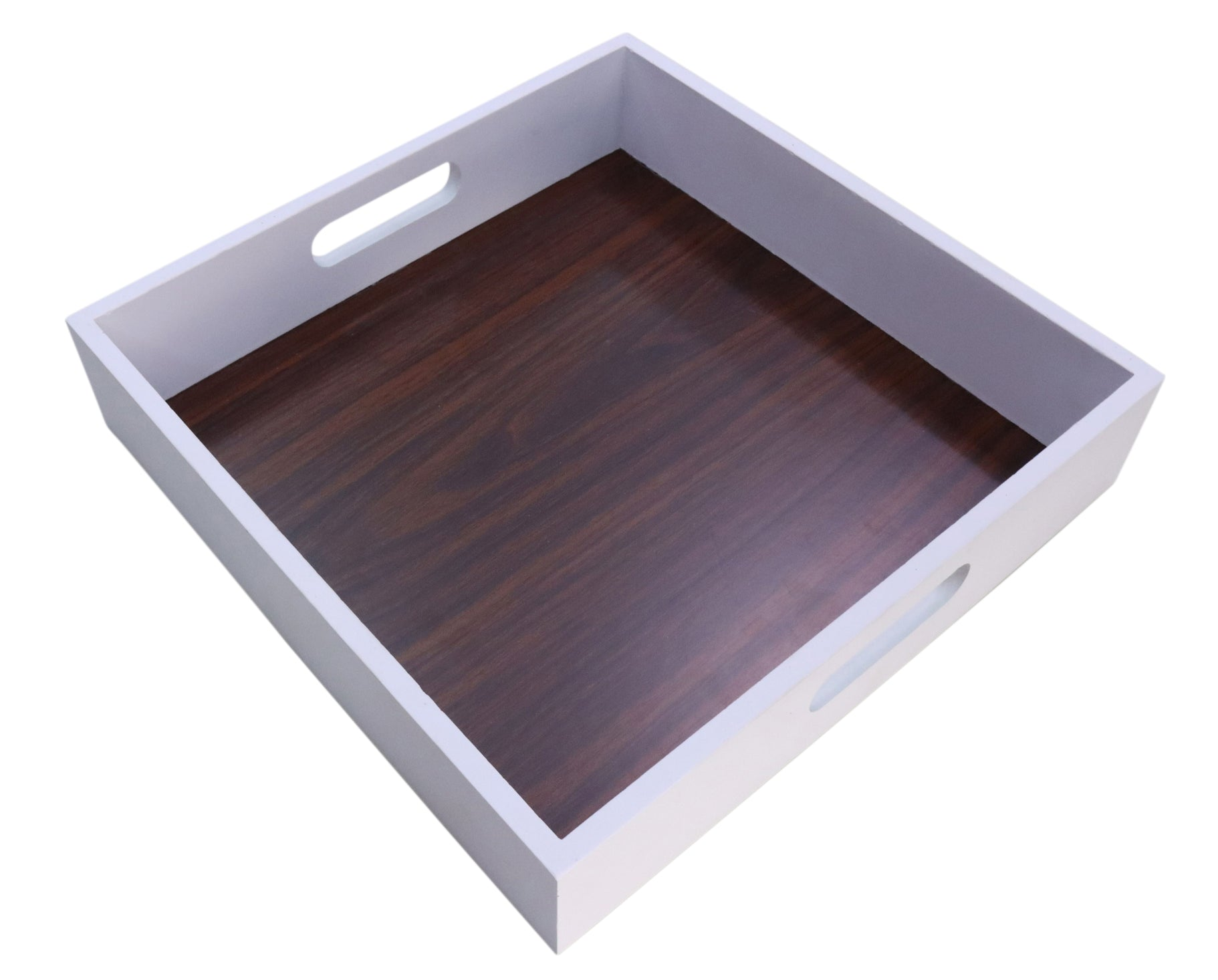 Square White Serving Tray w/Wood Grain Inlay Interior-Wald Imports