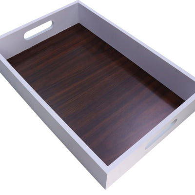 Rectangular White Serving Tray with Wood Grain Inlay Interior-Wald Imports