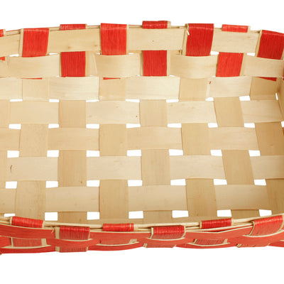 Small Red Woven Wood-chip Tray-Wald Imports