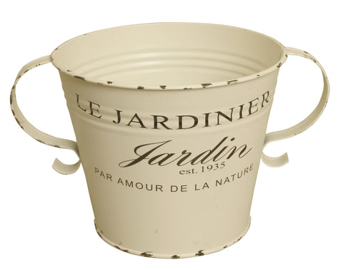 "7"" Distressed French Metal Pot Cover"