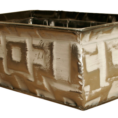 "Double 4"" Geometric Silver Metal Planter-Wald Imports"