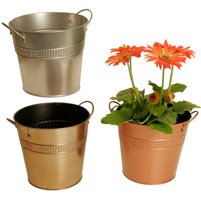 "7"" Assorted Metal Planters-Wald Imports"