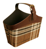 Brown Plaid Faux Leather & Fabric Tote W/Handle-Wald Imports