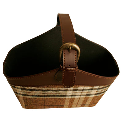 TOTE Small Brown Plaid Tote w/ Handle-Wald Imports