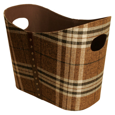 Brown Plaid Faux Leather & Fabric Tote-Wald Imports