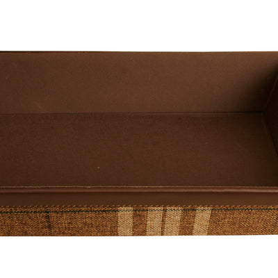Brown Plaid Faux Leather & Fabric Tray-Wald Imports