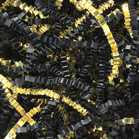 Spring-Fill Crinkle Cut Paper Shred, 40lbs Black & Gold Blend-Wald Imports