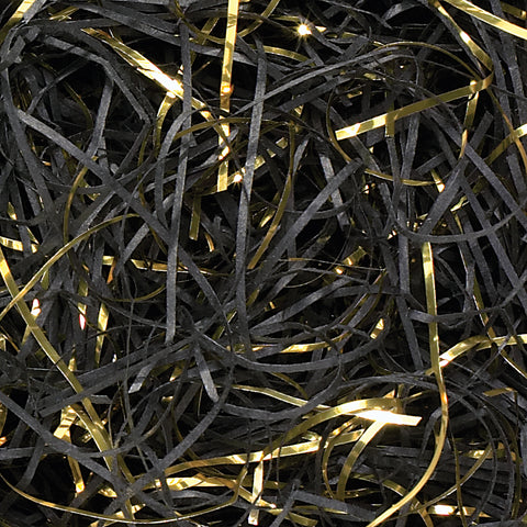 Spring-Fill Veryfine Cut Paper Shred, 10lbs Black & Gold Blend-Wald Imports