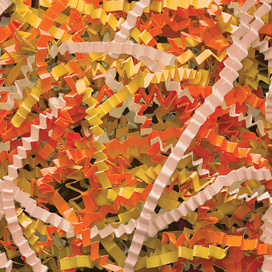 Spring-Fill Crinkle Cut Paper Shred, 40lbs Candy Corn-Wald Imports