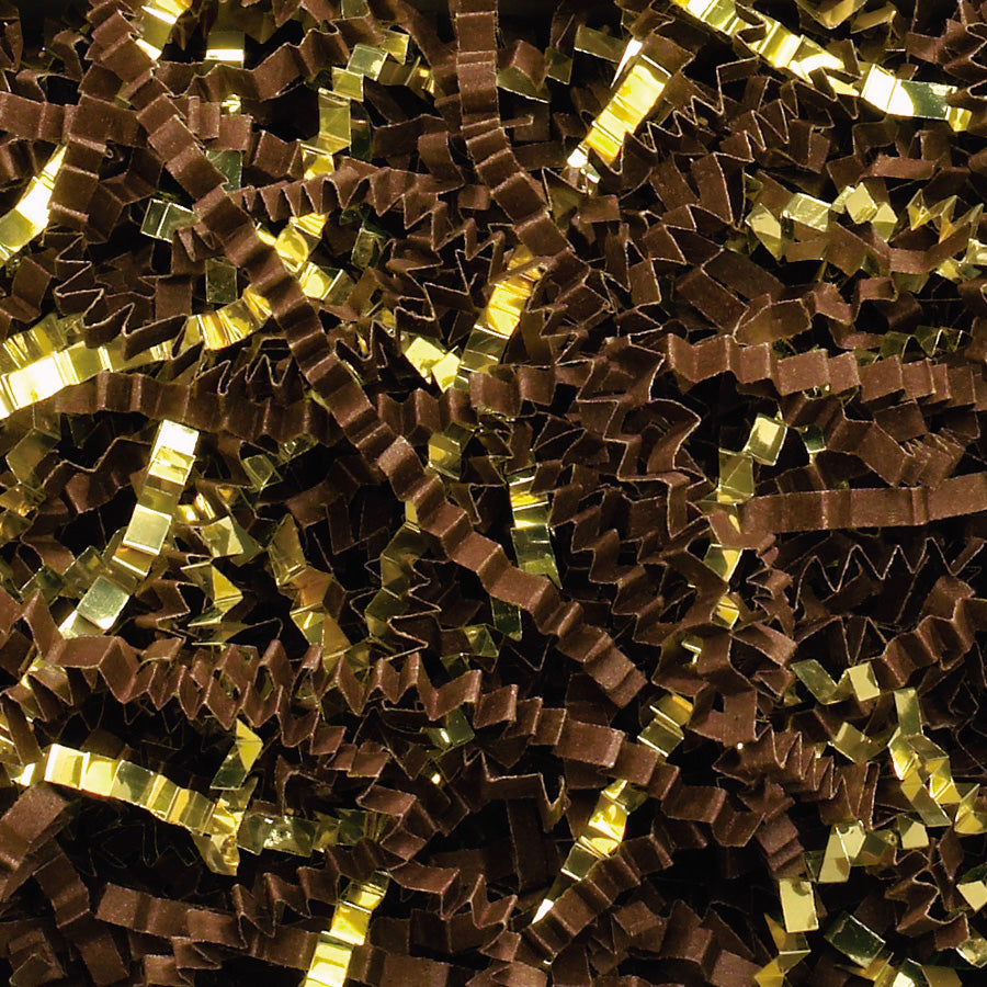 Spring-Fill Crinkle Cut Paper Shred, 10lbs Chocolate & Gold Blend-Wald Imports