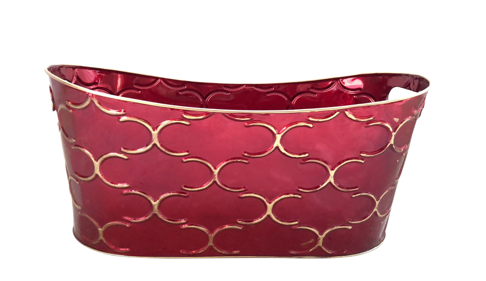 "Double 4"" Royal Burgundy Metal Planter-Wald Imports"