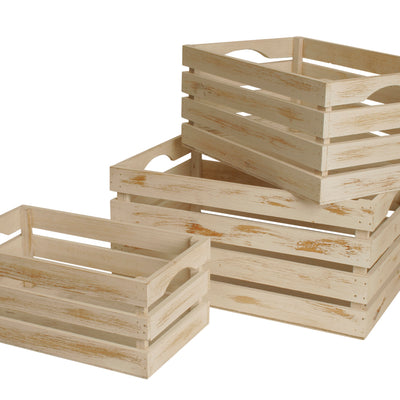 Set of 3 White-Washed Distressed Storage Crates-Wald Imports