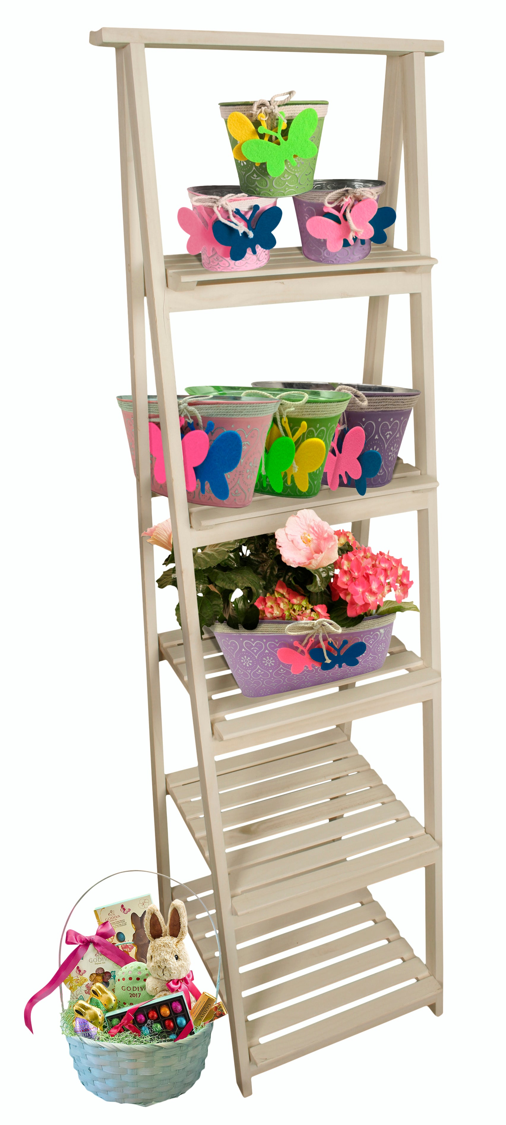Display White Wash Gradient Ladder w/ 5 Shelves-Wald Imports