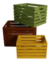 Set of 3 Distressed Wood Crates-Wald Imports