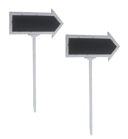 Set of 2 Wood Arrow Signs W/Chalkboards