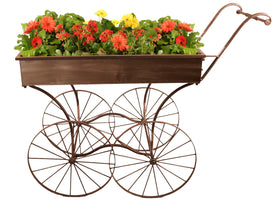 Display Metal Push Display Cart Brown Finish-Wald Imports