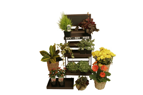 Three-Tiered Metal Folding Ladder Plant Stand-Wald Imports