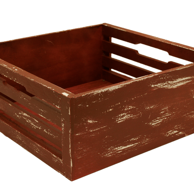 Antique Red Slat Crate-Wald Imports