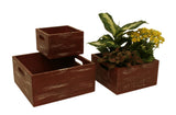 Set of Three Weathered Red Wood Storage Boxes