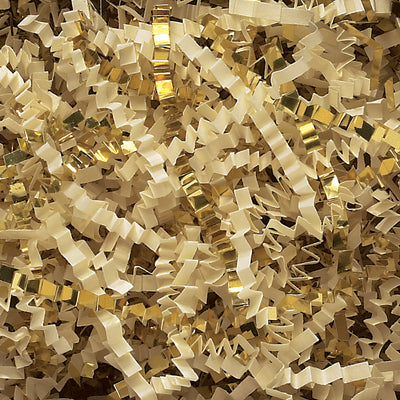 Spring-Fill Crinkle Cut Paper Shred, 10lbs French Vanilla & Gold Blend-Wald Imports