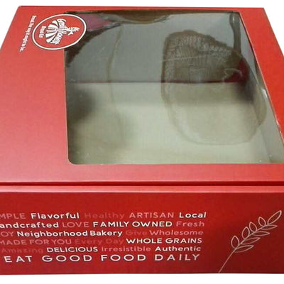 Large Holiday Red Baker's Box w/Window-Wald Imports