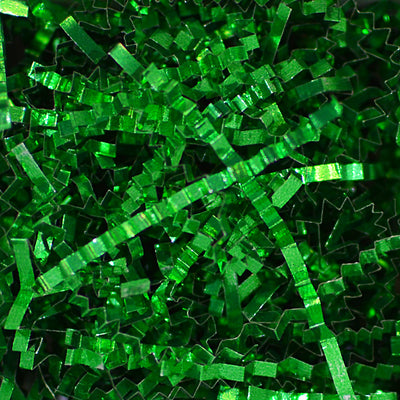 Spring-Fill Crinkle Cut Metallic Sparkle Shred, 5lbs Green-Wald Imports