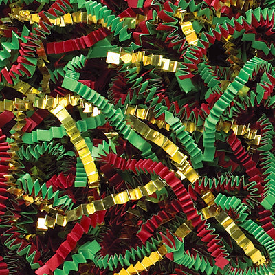 Spring-Fill Crinkle Cut Paper Shred, 40lbs Red, Green & Gold Blend-Wald Imports