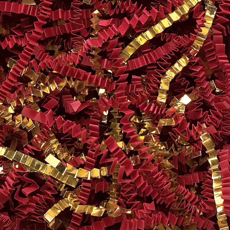 Spring-Fill Crinkle Cut Paper Shred, 40lbs Red & Gold Blend-Wald Imports