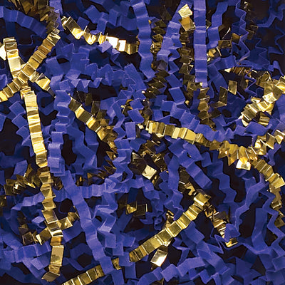 Spring-Fill Crinkle Cut Paper Shred, 10lbs Royal Blue & Gold Blend-Wald Imports