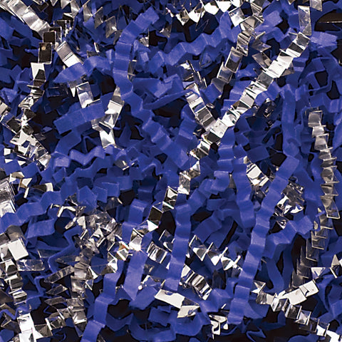 Spring-Fill Crinkle Cut Paper Shred, 40lbs Royal Blue & Silver Blend-Wald Imports