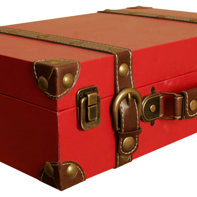Red Faux Leather Suitcase-Wald Imports