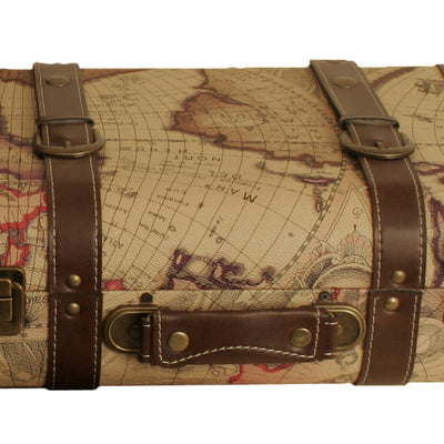 Map Faux Leather Suitcase-Wald Imports
